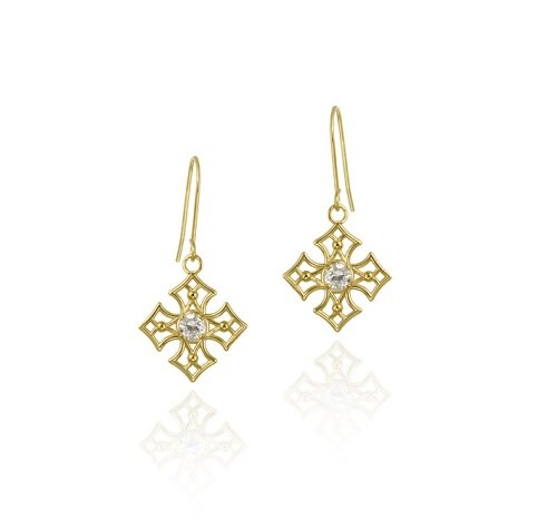 10K Gold CZ & Open Diamond Shape Dangle Earrings