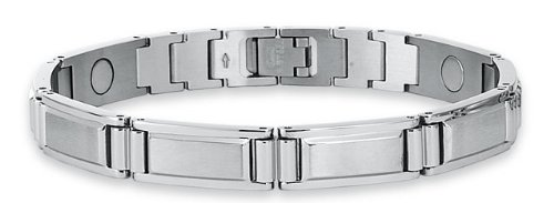 Men's STEL Stainless Steel 9″ Adjustable Bracelet with magnetic therapy