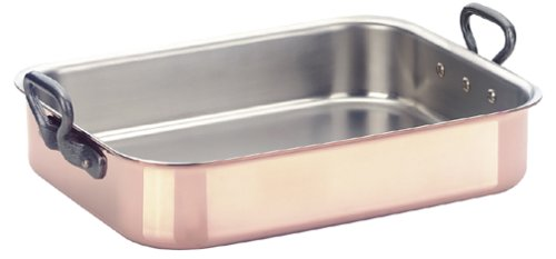 Mauviel M'Heritage 2.5 mm 14-by-10-Inch Rectangular Roasting Pan with 7-Quart Capacity and Cast-Iron Handles