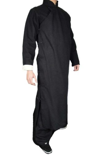 Interact China Pre&#228mie Leinen Schwarz Kung Fu Kampfkunst Tai Chi Langer Mantel Robe M