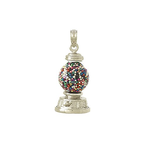 14k White Gold Novelty Charm Pendant, 3-D Gumball Machine, Moveable