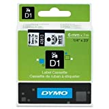 Dymo D-1 Tape, 0.25 Inches x 23 Feet, Black On White, 1/Box (43613)
