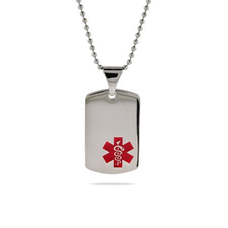 Dog Tag Medic ID Pendant Length 24 inches (Lengths 18 inches 20 inches 24 inches Available)