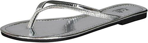 Kali Footwear Womens Focus Glitter Flip Flops,Silver,9
