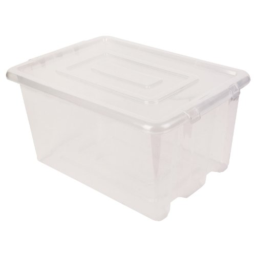 New Whitefurze Clear Plastic Stackable Container Medium Storage Box With Lid 32l