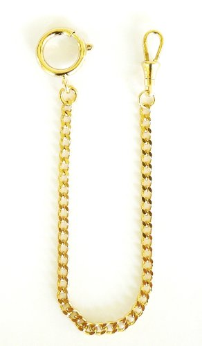 Dueber Watch Co Dueber Yellow Gold Plated Curb Pocket Watch Chain with Spring Ring
