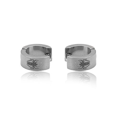 FASHION STAINLESS STEEL SILVER TONE HOOP EARRING FOR MEN JEWELRY 5.05grams