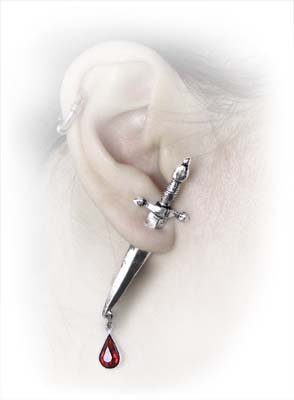 Cesare's Veto Ear Stud Knife Earring by Alchemy Gothic