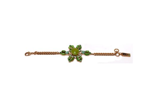'Green Serenity' 2013 Collection 24K Rose Gold Plated Classy Bracelet Created by Amaro Jewelry Studio Ornate with Green Aventurine, Variscite, Lime Chrysophase, Yellow Turquoise, Olive Jade and Swarovski Crystals