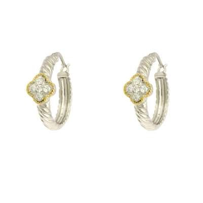 New Fine Jewelry Hoop Earrings 925 Sterling Silver Two-Tone Rope Design with CZ Clover(WoW !With Purchase Over $50 Receive A Marcrame Bracelet Free)