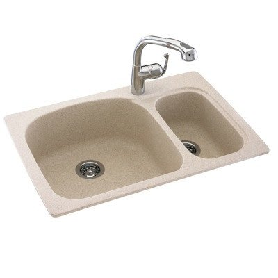 Swanstone Classics 33 x 22 Large/Small Double Bowl Kitchen Sink Finish: Winter Wheat swanstone dual mount composite 33x22x10 1 hole single bowl kitchen sink in tahiti ivory tahiti ivory