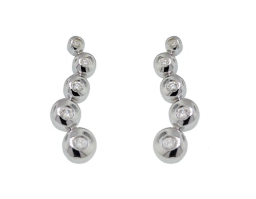9ct White Gold 0.12ct Diamond Journey Drop Earrings