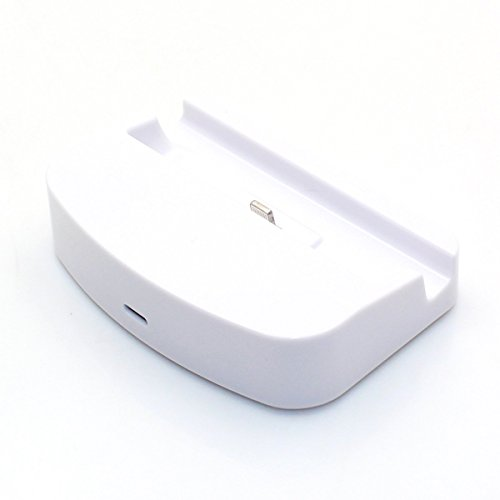 Wocharger(Tm) Desktop Dock Charging Station Data Sync & Charger Cradle Mount Docking Station Charging + 8 Pin Usb Data Sync Charging Cable For Iphone 6 5S 5C 5 (White Charging Station For Iphone 6 5S 5C)