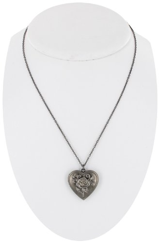Dark Silver Plated Metal Photo Locket Pendant Necklace Rose Heart