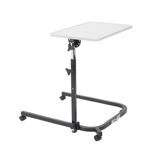 Drive Medical Deluxe Pivot And Tilt Overbed Table, Gray & Black front-1039796