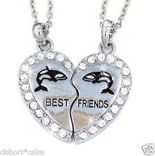 Amazon.com: NEW BEST FRIEND Whales Heart Silver Tone 2