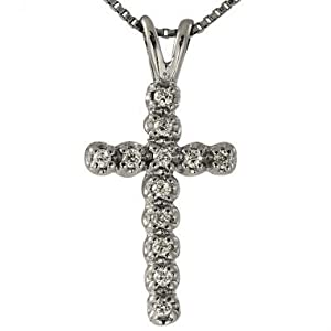 GDiamond Cross Pendant With 0.14cts Prong Set Fine White Diamonds In 14K White Diamond Cross Pendant
