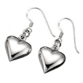 Sterling silver drop earrings. Puffy heart.