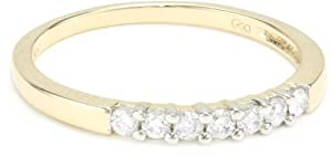 10k Yellow Gold Round 7-Stone Diamond Ring (1/4 cttw, H-I Color, I2-I3 Clarity), Size 7