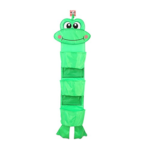 Home-Cube® Cartoon Recycle Wall Hanging Storage Organizer Bag Pocket Closet Travel Kids Room Unit With 3 Large Pockets (Frog)