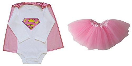 So Sydney Baby, Infant Girl Superhero Onesie with Detachable Cape & Tutu Skirt (S (0-6 Months), Supergirl – Pink)