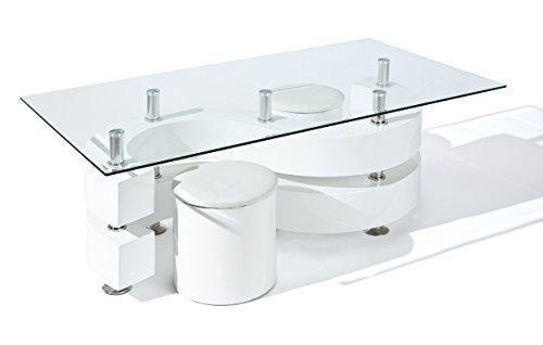 50100005 Couchtisch Glastisch Wohnzimmertisch Wohnzimmer Tisch Glas 2 Hocker weiß NEU