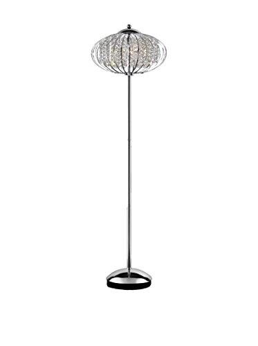 ORE International Royal Krystale 3-Light Floor Lamp, Silver/Clear
