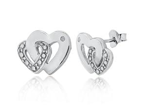 Boucles d'oreilles fantaisie - Femme - Coeur - Argent 2.3 Gr - Diamant 0.05 Cts
