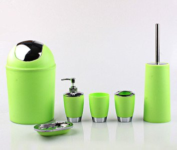 justnile 6 piece bathroom accessory set trendy plastic green silver - Bathroom Accessories Lime Green