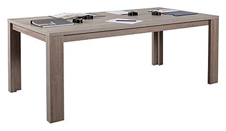 Composad Table 200x 100x 77cm couleur chêne truffe tl4723