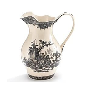 French Black Toile Porcelain Water/Tea Pitcher Featured in Country Living Magazine