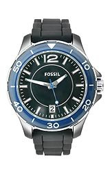 Fossil Ceramic Silicone Strap Black Dial Women's watch #CE1036