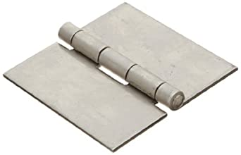 "Stainless Steel 316 Surface Mount Butt Hinge without Hole, 2B Mill Finish, 0.090"" Leaf Thickness, 3"" Open Width, 11/64"" Pin Diameter, 3"" Long, Non-Removable Pin (Pack of 1)"