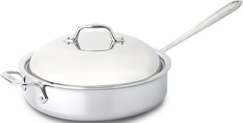 All-Clad 44048 Stainless Steel 3-Ply Bonded Dishwasher Safe Saute Pan with Domed Lid Cookware, 4-Quart, Silver