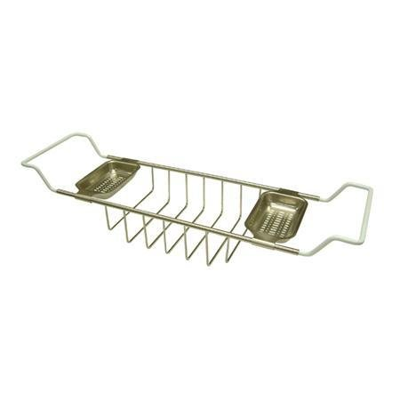 Satin Nickel Tub Mount Soap/Sponge Bathtub Caddy Rack Organizer Tray Basket 26-33