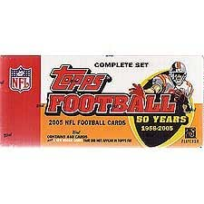 2005 Topps Football Factory Sealed 50th Anniversary Issue Set with Bonus Rookie Cards! Loaded with Stars Including Tom Brady, Moss, Vick, Manning, Favre, Roger Staubach, Joe Namath, Lawrence Taylor, John Elway and Others.