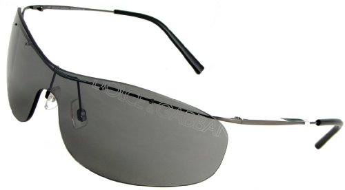 Dolce & Gabbana D&G 443S E56 Rimless Shield Fashion Sunglasses, Gunmetal Frame/ Grey Lenses