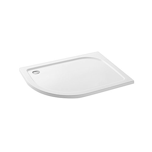 Offset Quadrant 1200 x 800 mm Stone Shower Enclosure Tray + Waste - Left