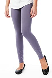 Limited Cotton Rich Diamanté Leggings with Stay New? [T74-3455T-S]