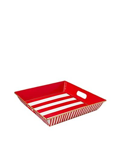 Malabar Bay Horizontal Stripe Square Tray, Red