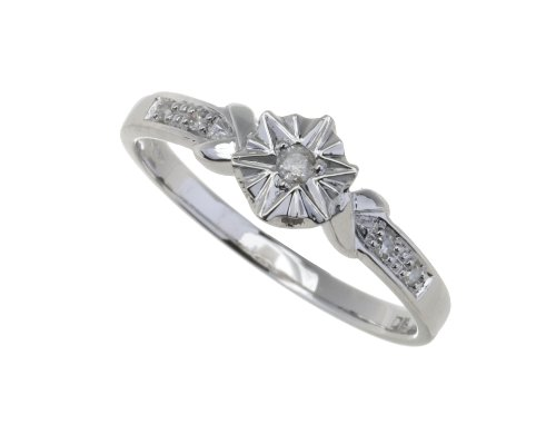 Ladies' 9ct White Gold Diamond Accent Ring