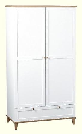 Armario de 2 puertas y 1 Arcadia en blanco/chapa de la ceniza