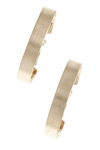 TRENDY FASHION FLAT HOOP EARRINGS BY FASHION DESTINATION | (Gold)