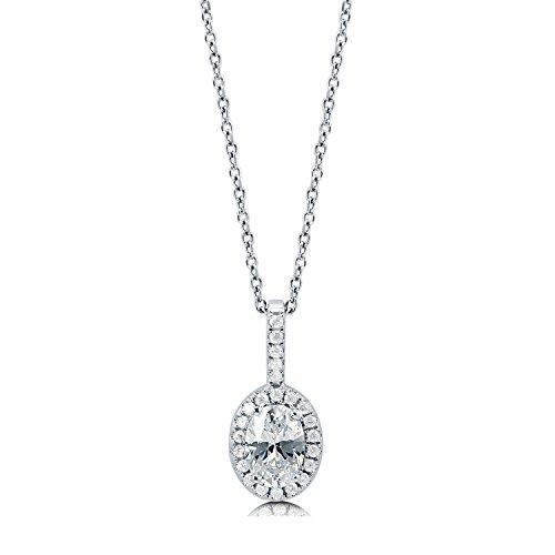 [ジュエリーキャッスル] Jewelry Castle ネックレス 0.88ct オーバルカット ヘイローペンダント CZダイヤモンド (キュービックジルコニア)
