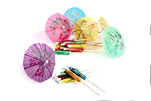 24 x Multi Coloured Paper Cocktail Umbrellas Parasoles