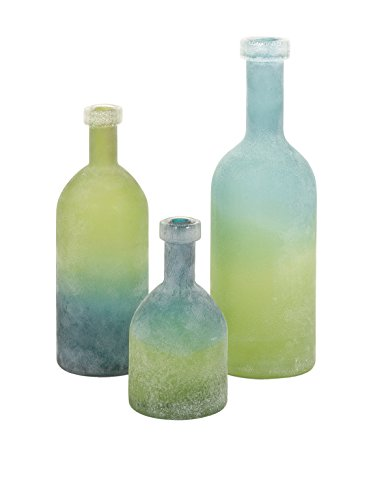 IMAX 65452-3 Alena Green and Blue Glass Bottles, Set of 3