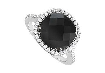 Genuine Black Onyx and Diamond Ring 14K White Gold 2.50 CT TGW