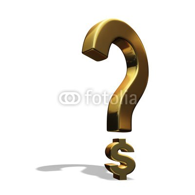 Wallmonkeys Peel and Stick Wall Decals - Question Mark Incorporating Dollar Sign and Casting Shadow - 24