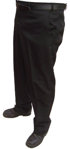 Brand new mens casual / formal trousers black and navy all sizes (34 waist 29 inside leg, BLACK)