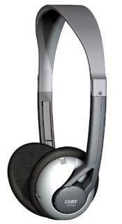 Coby Deep Bass Lightweight Stereo Headphones CVH42 (Silver)